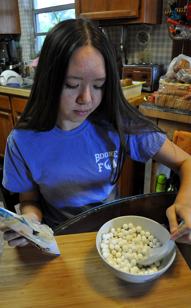 MIX IT UP. Melody Halbert prepares traditional rice balls for her family. photo/Grace McGee