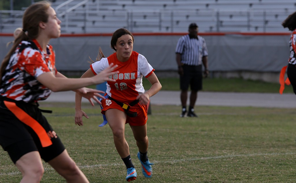 HUSTLE. In the Winter Park game, junior Natalia Diaz chases after a Wildcat player. photo/Katie Marshall