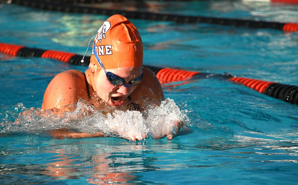 MAKING WAVES. Junior Valerie Campanalie does the breaststroke in the 200 individual medley. photo/Jae Crawford
