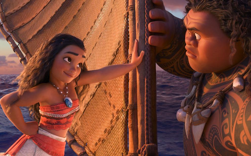 "An animated still from the movie ""Moana"" voiced by Auli'i Cravalho as Moana and Dwayne Johnson as Maui. photo/Walt Disney Animation Studios/TNS"