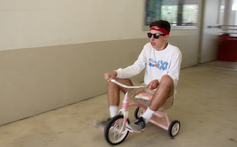 TRIKE OR DIE. Junior Parker Fluke leads the final race against Spanish Club. Fluke's team, Trike or Die, won the overall race.