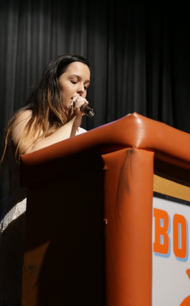 LISTEN HERE. Junior Alexia Correa lists the inductees of Tri-M Music Honor Society.