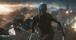 Nebula fights enemies in Avengers film.