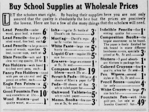 School supplies prices and descriptions in 1908