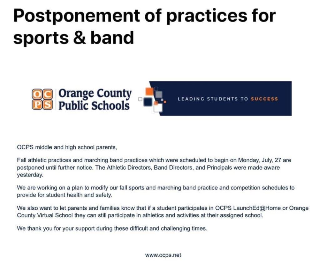 OCPS announcement