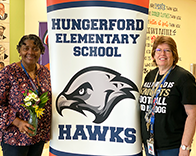 Chartine and Tammi with Hungerford sign