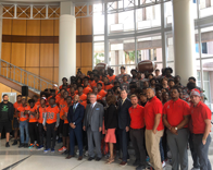 Edgewater football team poses with Mayor Buddy Dyer at City Hall